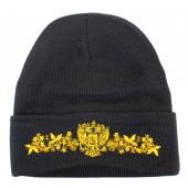 Wintermütze schwarz, mit Motiv Gerb Rossii TM-1043