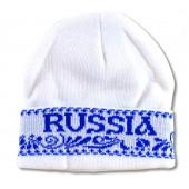 "Wintermütze weiß ""Russia"" Gzhel, FA-0051"